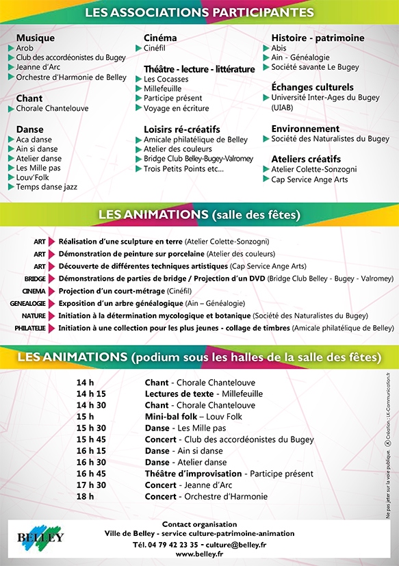 Belley programme de la 1 re journ e des associations for Garage solidaire chambery