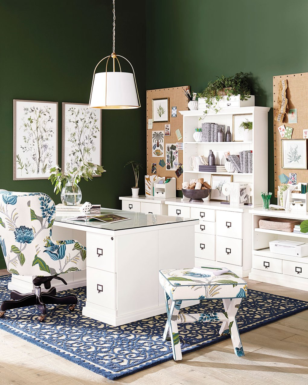 Green and blue themed home office by Ballard Designs