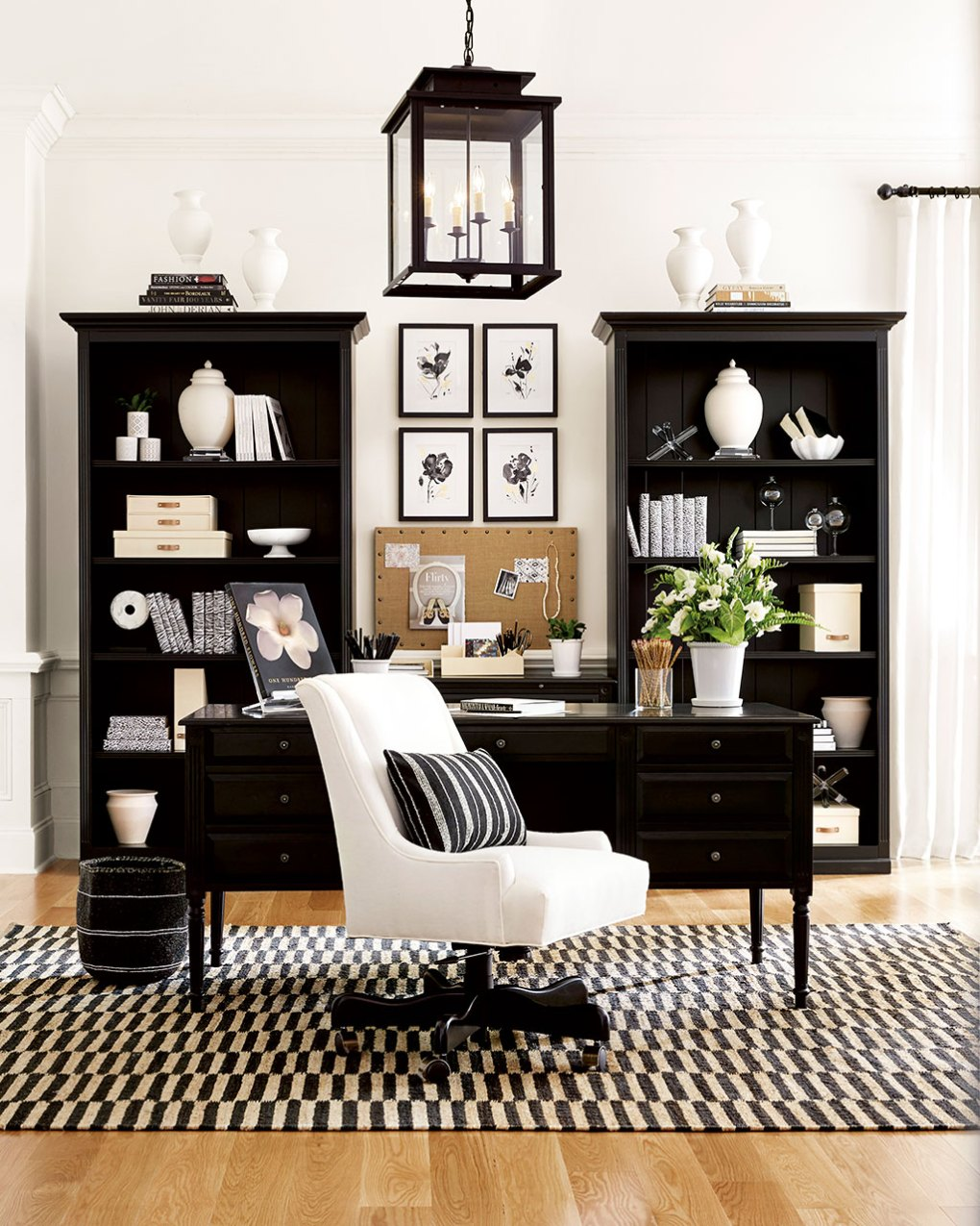 Black and white themed home office by Ballard Designs