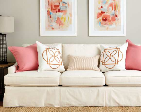 Pink and Orange pillow color palette