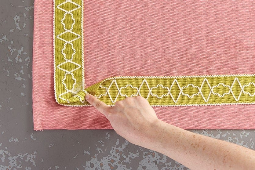 how to add tape trim to curtain panels