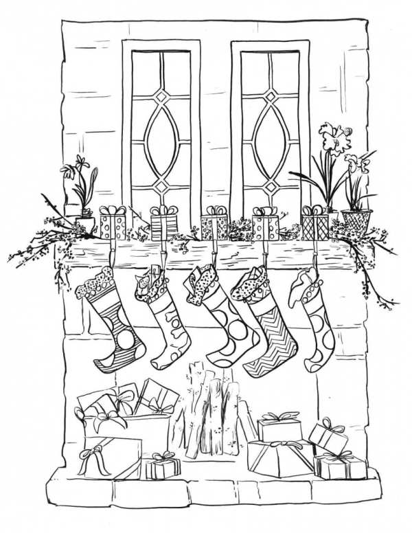 stocking coloring pages # 16
