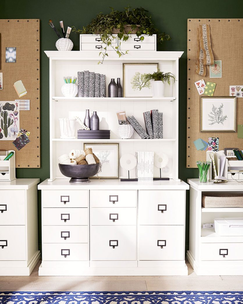 Home office ideas and storage with large hutch and file drawers