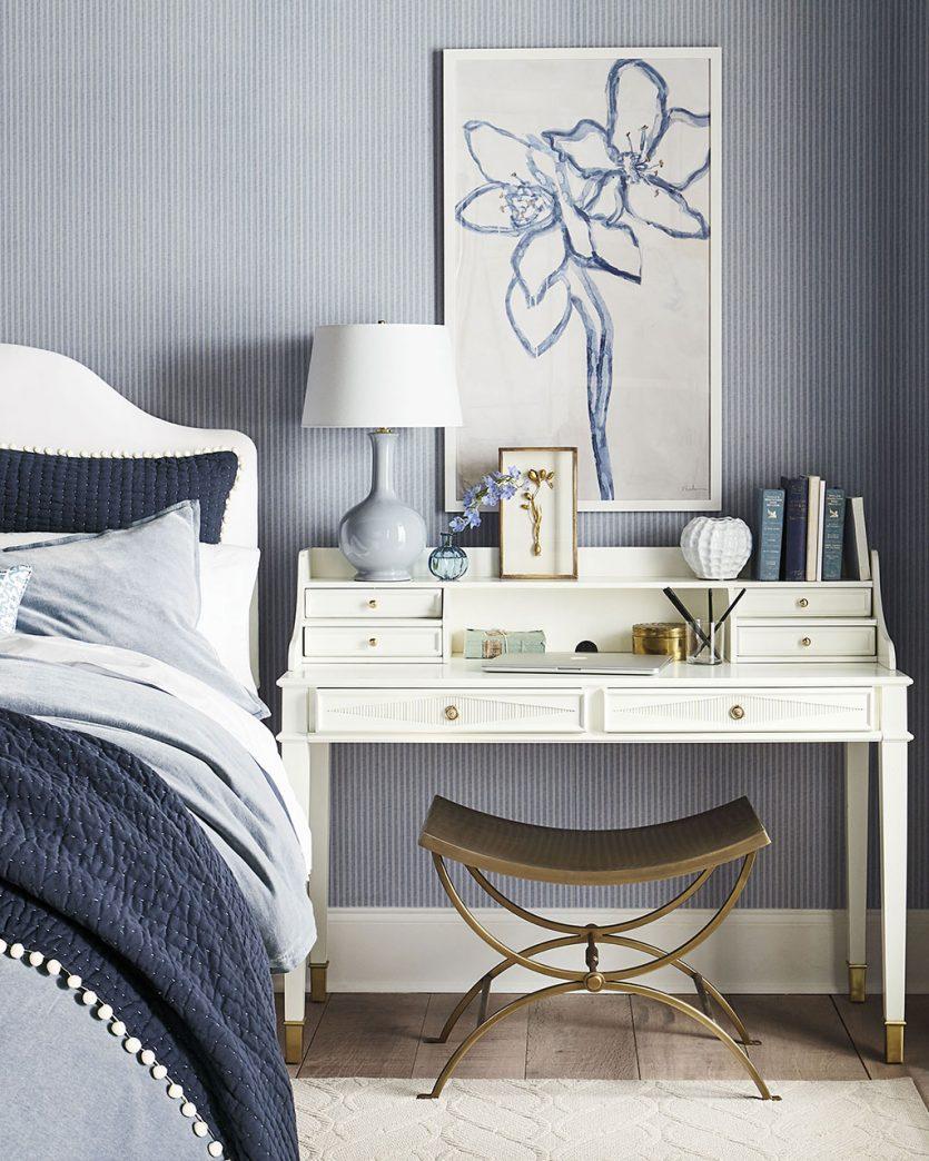 Desk next to bed in guest bedroom from Ballard Designs