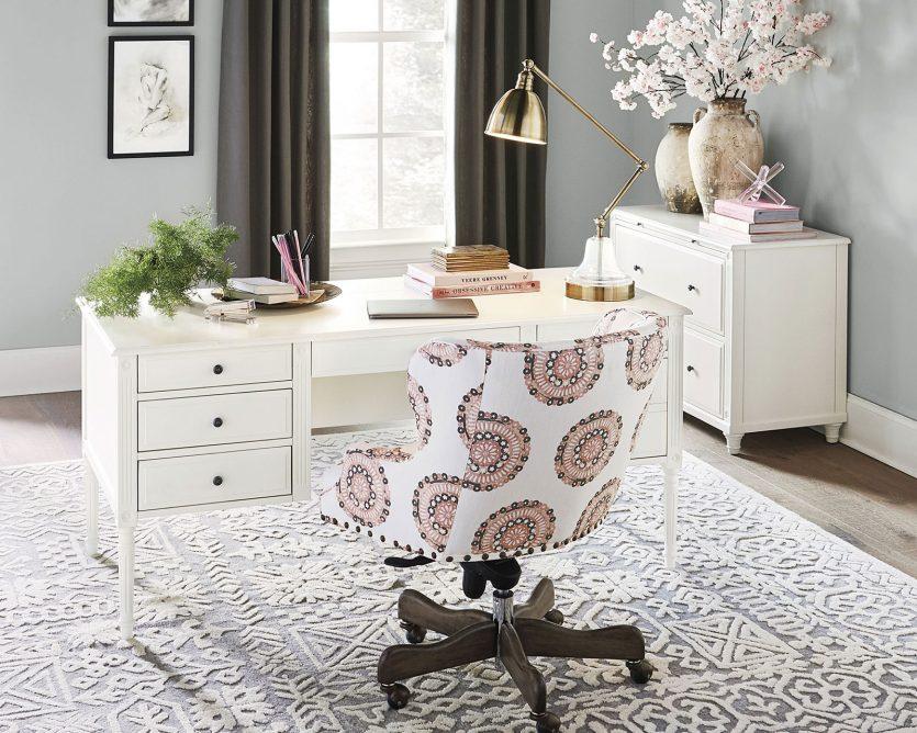 Verona desk from Ballard Designs floats with cord management