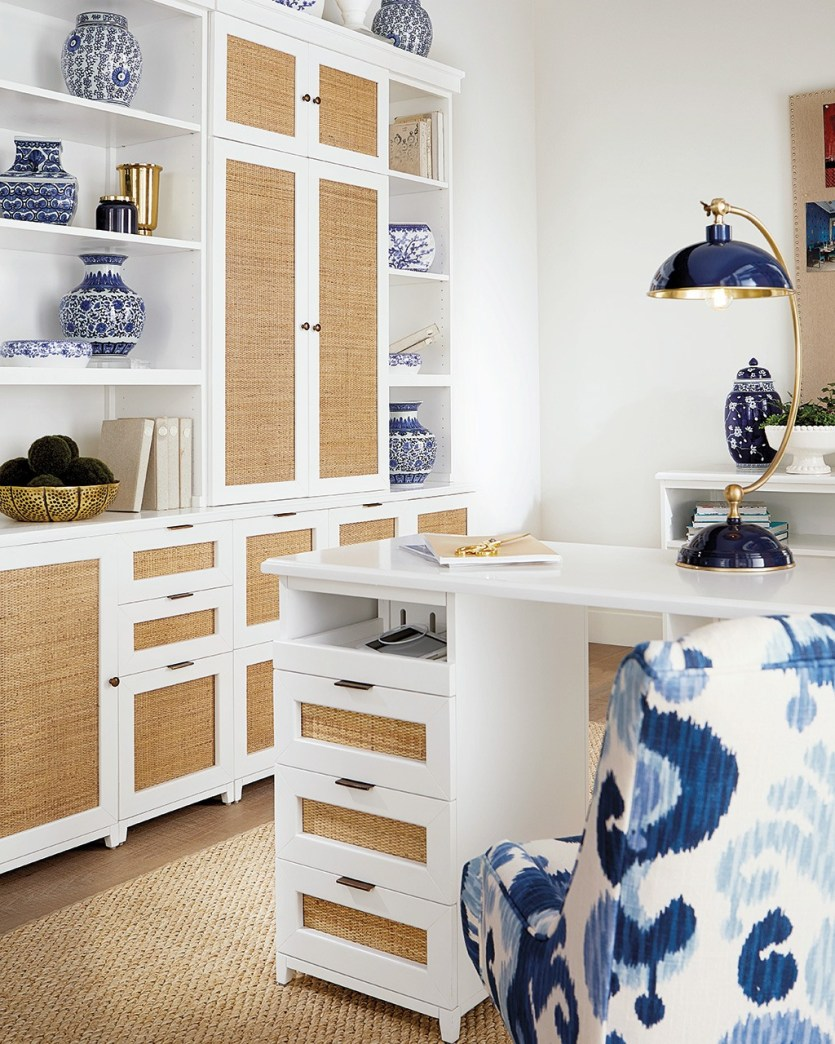 Modular office collection with natural rattan panels from Ballard Designs