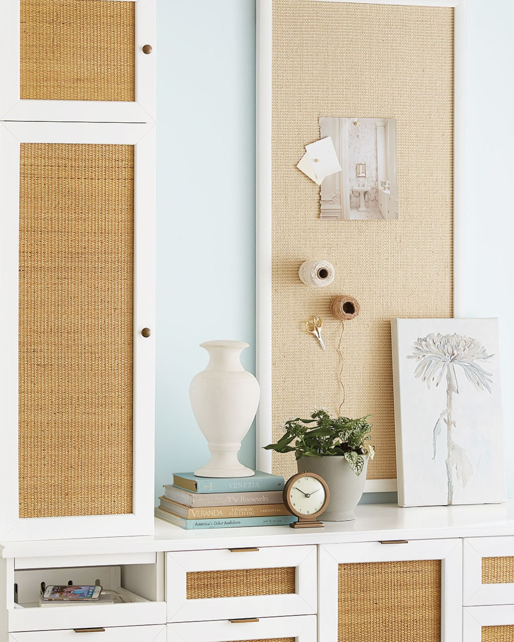 Rattan panels on cabinets and hutch from Ballard Designs