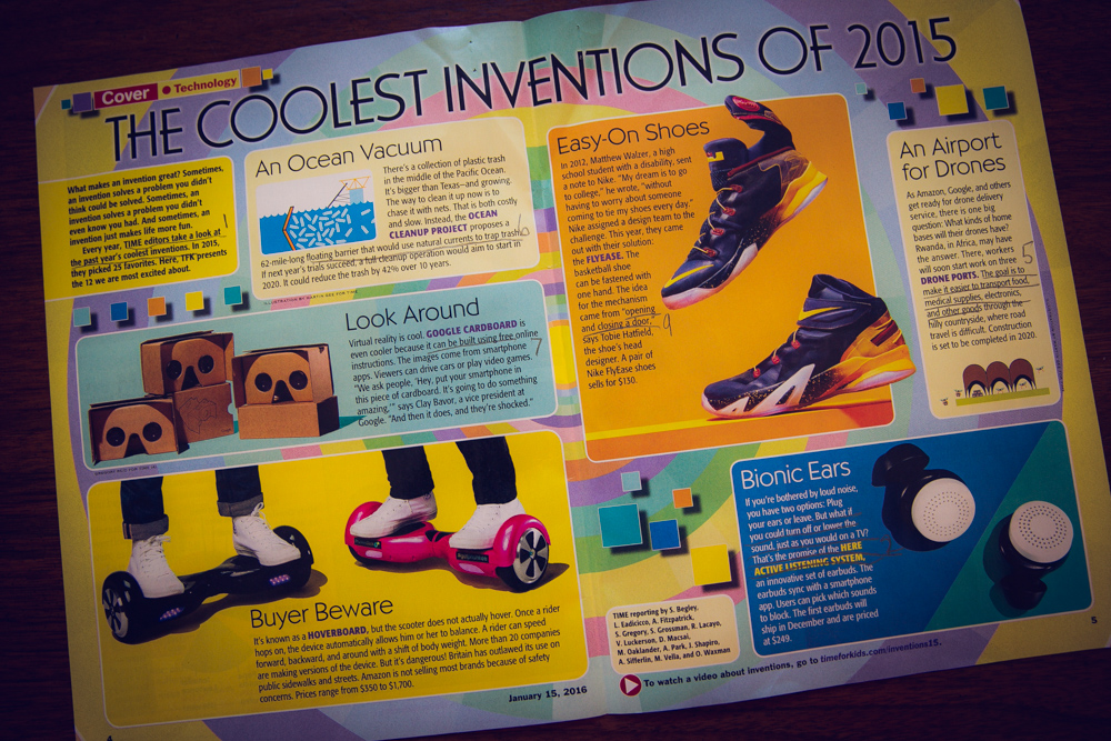 Here are a few of the inventions from Time for Kids! Just look at the pictures - makes me want all of these things!!