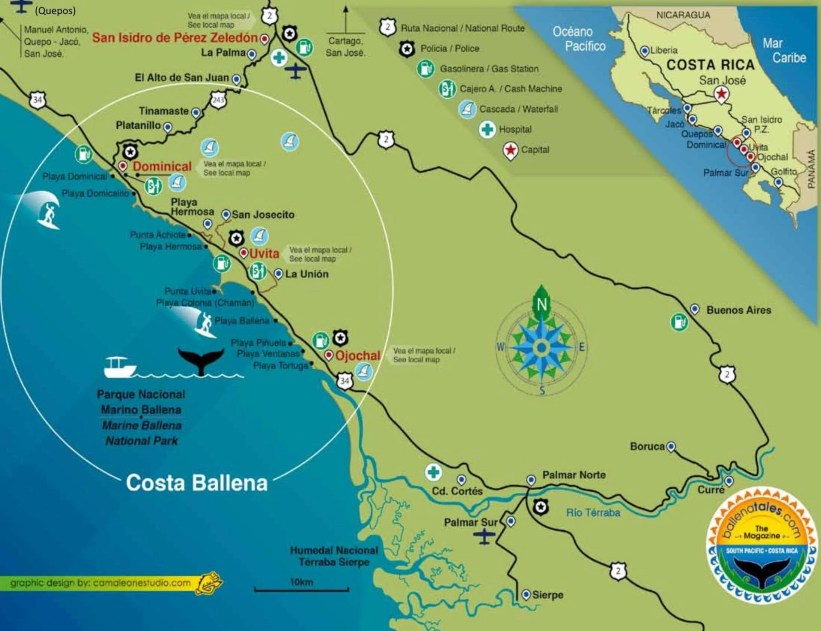 Costa Ballena Costa Rica Map, Costa Ballena. Osa, South Pacific, Costa Rica - A World of Light and Color!