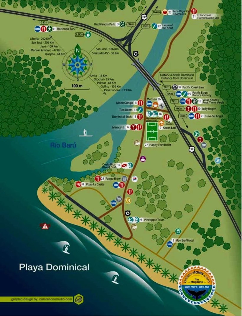 Dominical Map, Dominical, Costa Ballena, Costa Rica, Belleza Natural y Folclore, Paraiso del Surf,