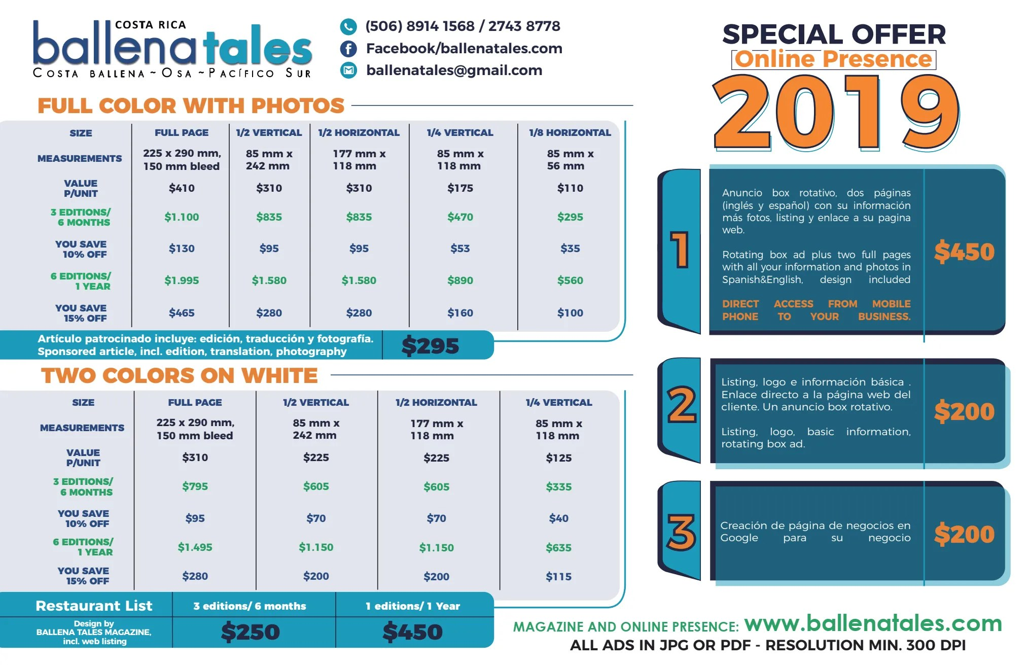 ´Ballena Tales Magazine price list 2019