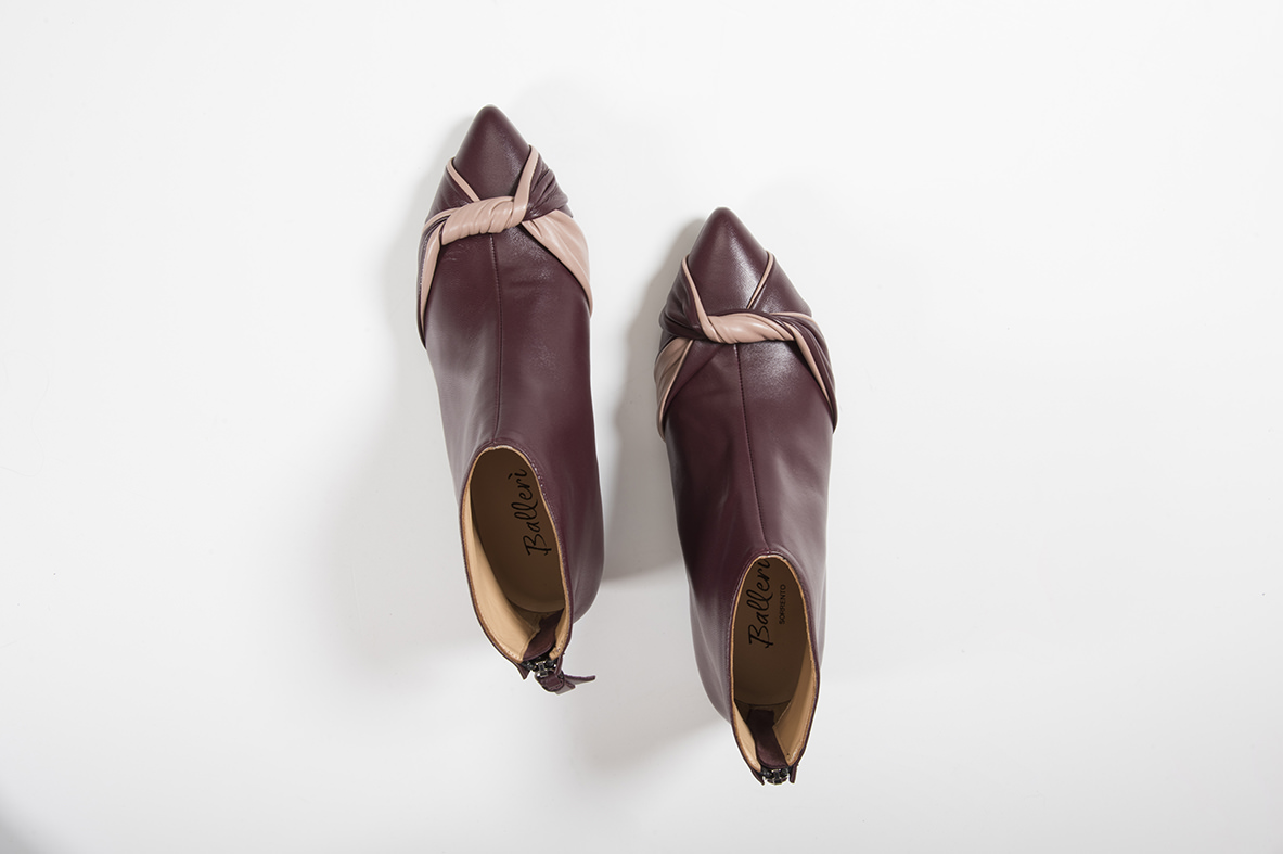 Andrea Bordeaux Nude andrea boot in burgundy and nude | ballerì sorrento