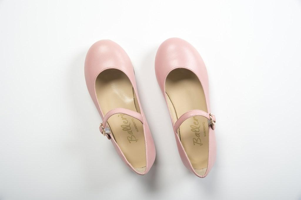 Ballerina bambina a punta tonda Lea Pelle Cipria