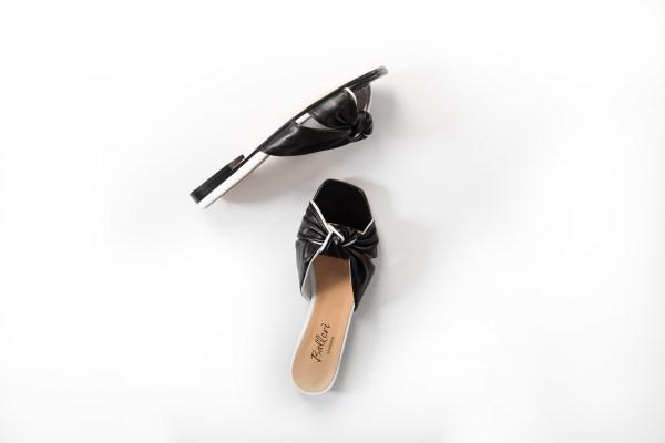 Sandalo a punta quadrata Dea Pelle Nero/Bianco - 2