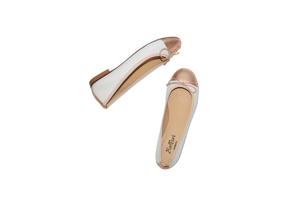 White and Copper two-tone Leather Elsa Ballerina - 2