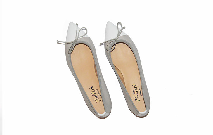 Grey and White two-tone Leather Sofia Ballerina