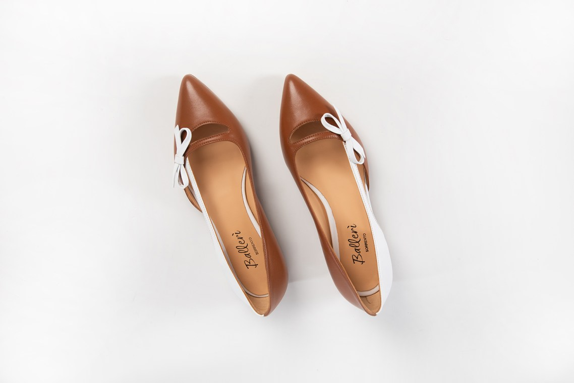 Tan/White Leather Aida Pointed Ballerina