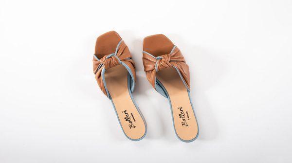 Sandalo a punta quadrata Dea Pelle Cuoio/Polvere