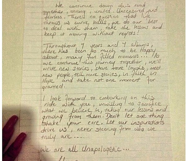 Rihanna's Unapologetic letter to fans.