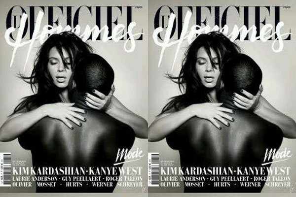 Kim Kardashian and Kanye West on the cover of L'Officiel Hommes