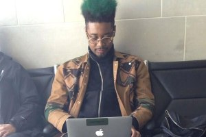 Danny Brown rocks new green hair-do