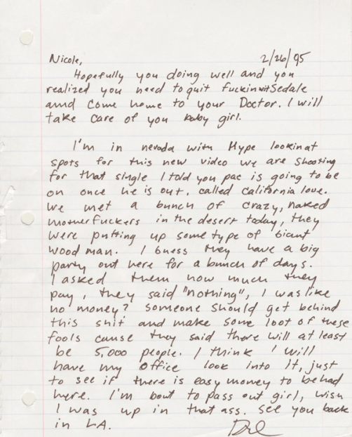 Dr. Dre's 1995 letter to then-girlfriend, now-wife Nicole.