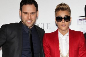 Justin Bieber with manager Scooter Braun