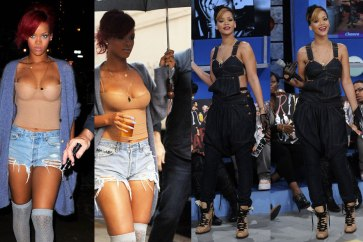 Rihanna wearing Levi's X Jean Paul Gaultier Overalls, as well as Levi's cut-offs