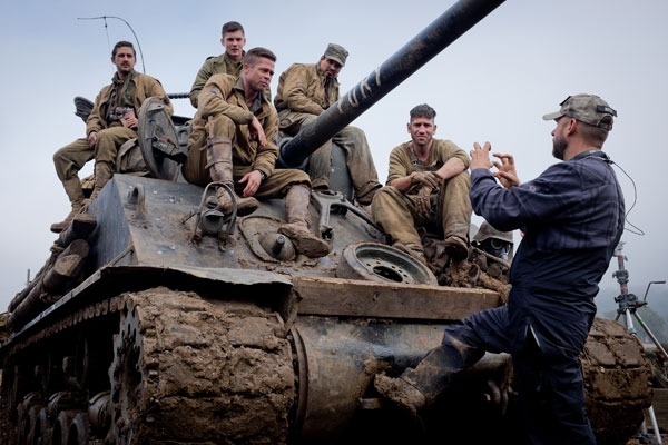 Director David Ayer with Fury cast