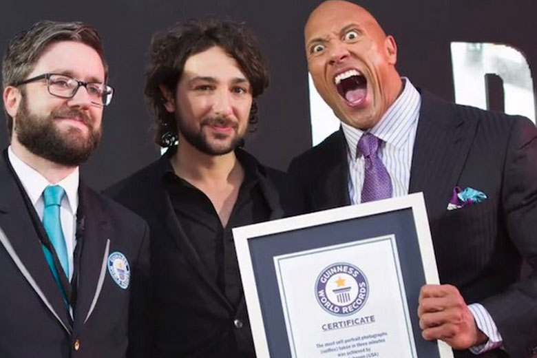 The Rock breaks selfies record