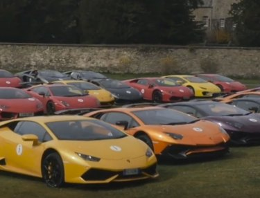 Watch a Fleet of Lamborghinis Tour Scotland