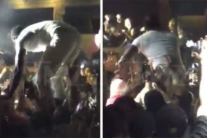 Akon Falls After Crowd Surf