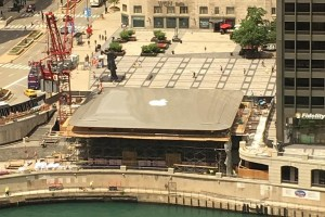 Giant MacBook Air on Roof Apple Chicago