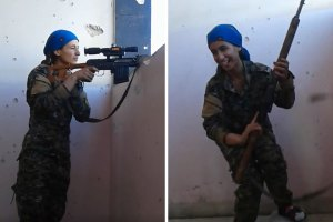 Woman Laughs As Isis Sniper Narrowly Misses Her Head
