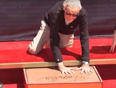 Stan Lee Gets Hands Imprinted at Hollywood's Chinese Theatre