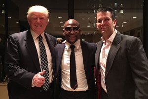 Floyd Mayweather with Donald Trump and Trump Jr.