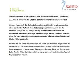 Presseinfo Weltstars bei Ballett Gala Muenster
