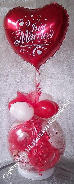 Geschenk im Ballon Hochzeit mit Folie Just Married