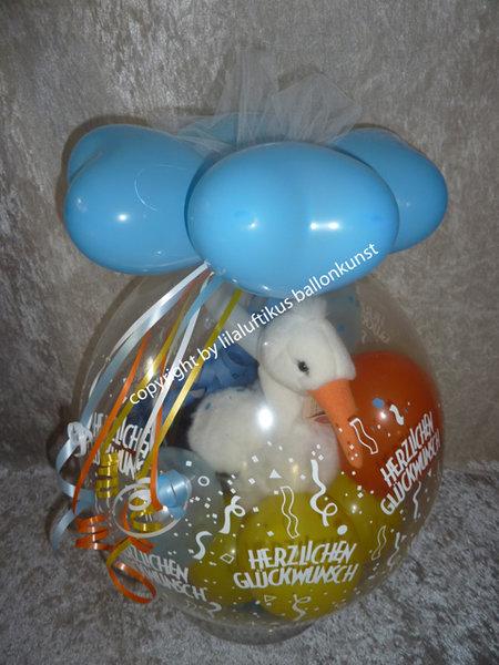 Verpackungsballon Geburt Taufe Storch Geschenk
