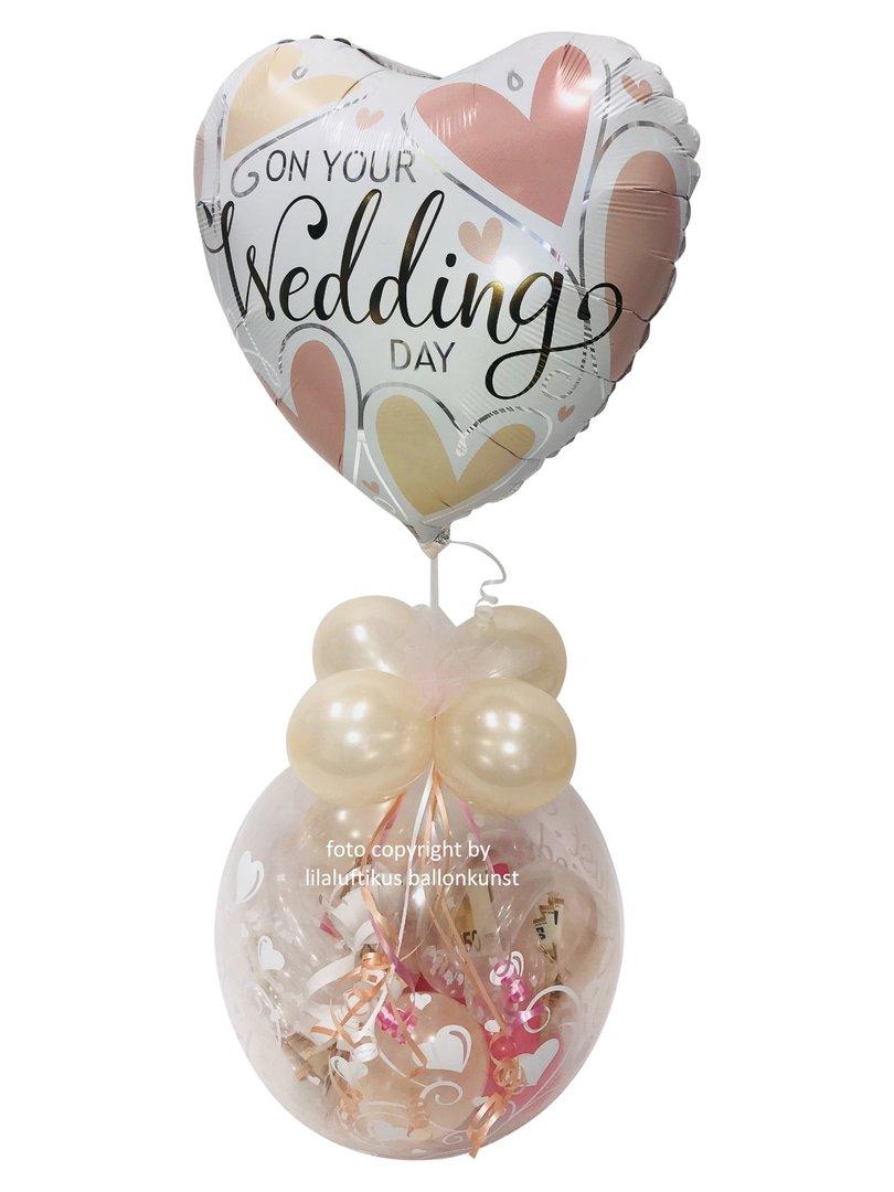 Geschenk im Ballon Hochzeit Vintage Style mit Wedding Herz