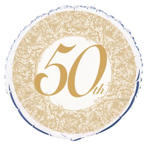 BallonsupermarktOnlineshopde  50th Luftballon aus Folie zur Goldenen Hochzeit ohne Helium