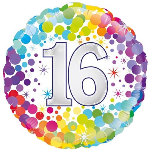 Luftballon Colorful Confetti 16 runder Folienballon mit