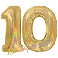 Luftballons aus Folie Zahl 10, Gold, holografisch, 100 cm ...