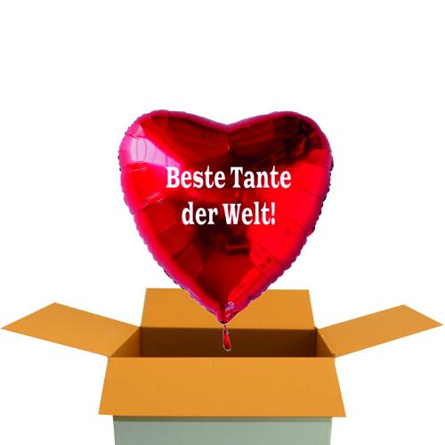 Beste Tante der Welt Roter Herzluftballon aus Folie mit