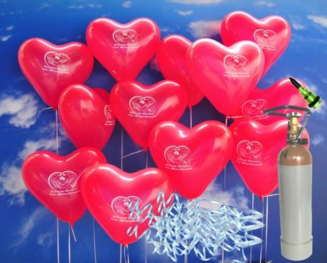 Mittelgroe Sets mit 50 Stck Luftballons in Herzform aus