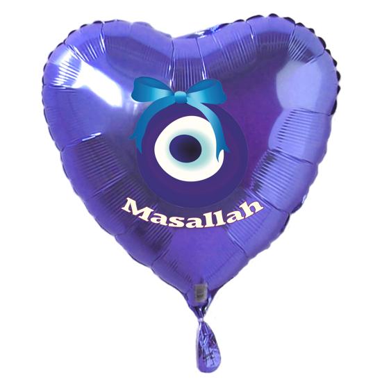 Folienballon Trkisches Auge Masallah Blau Folienballon