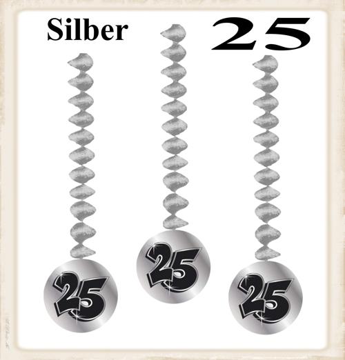 Dekorationshnger Silber Zahl 25 3 Stck Rotorspiralen