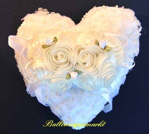Ringkissen Hochzeit Wei mit Rosen aufklappbar
