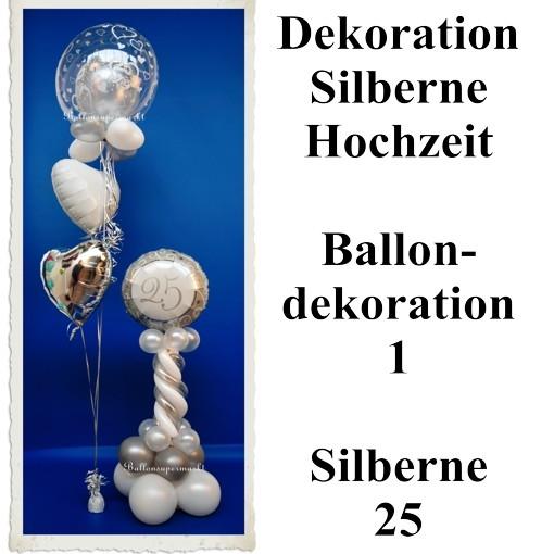 Ballondekoration 1 Silberne 25 Silberne Hochzeit