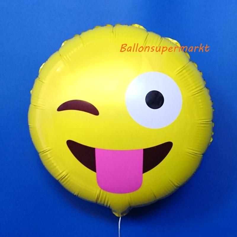 Folienballon Verrckter Emoticon Folienballon mit Ballongas